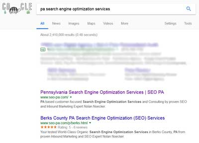 pa search engine optimization search results